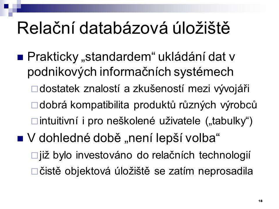 """Relační databázová úložiště Prakticky """"standardem"""" ukládání dat v podnikových informačních systémech  dostatek znalostí a zkušeností mezi vývojáři """