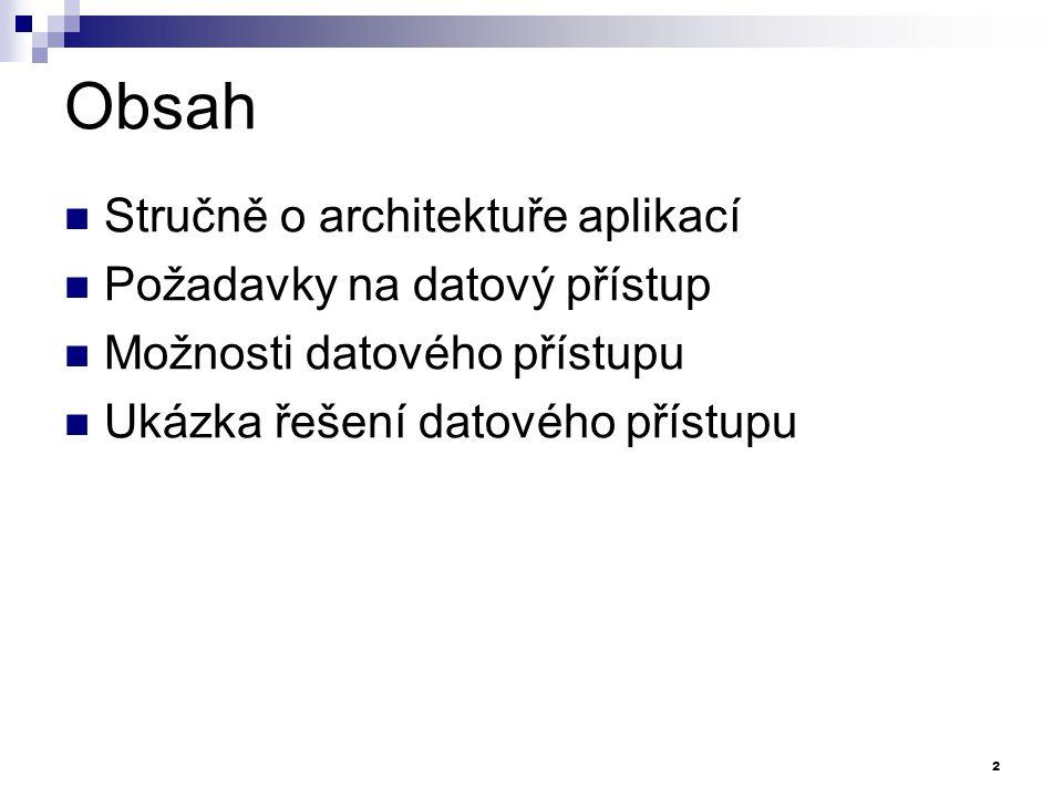 Obsah Stručně o architektuře aplikací Požadavky na datový přístup Možnosti datového přístupu Ukázka řešení datového přístupu 2