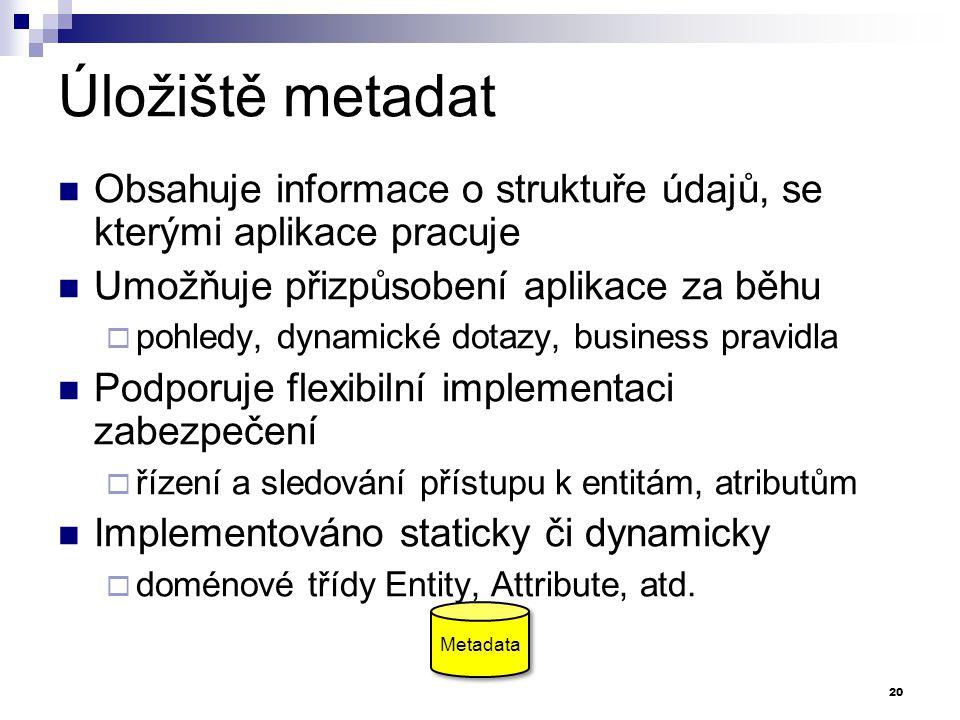 Úložiště metadat Obsahuje informace o struktuře údajů, se kterými aplikace pracuje Umožňuje přizpůsobení aplikace za běhu  pohledy, dynamické dotazy, business pravidla Podporuje flexibilní implementaci zabezpečení  řízení a sledování přístupu k entitám, atributům Implementováno staticky či dynamicky  doménové třídy Entity, Attribute, atd.