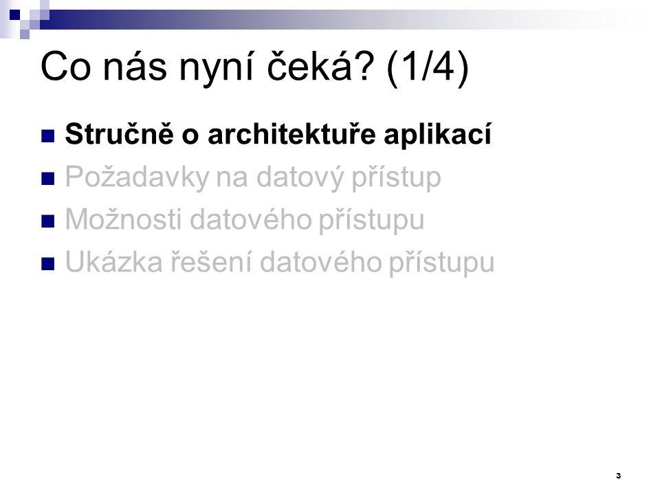 Co nás nyní čeká? (1/4) Stručně o architektuře aplikací Požadavky na datový přístup Možnosti datového přístupu Ukázka řešení datového přístupu 3
