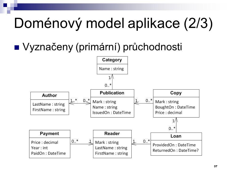 Doménový model aplikace (2/3) Vyznačeny (primární) průchodnosti 37