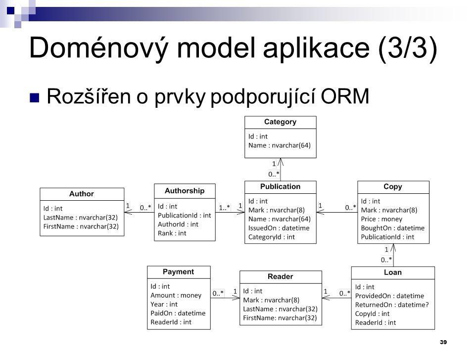 Doménový model aplikace (3/3) Rozšířen o prvky podporující ORM 39