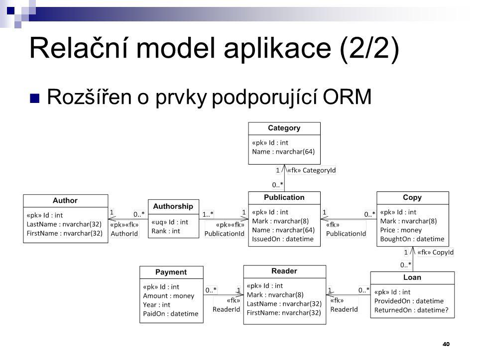 Relační model aplikace (2/2) Rozšířen o prvky podporující ORM 40