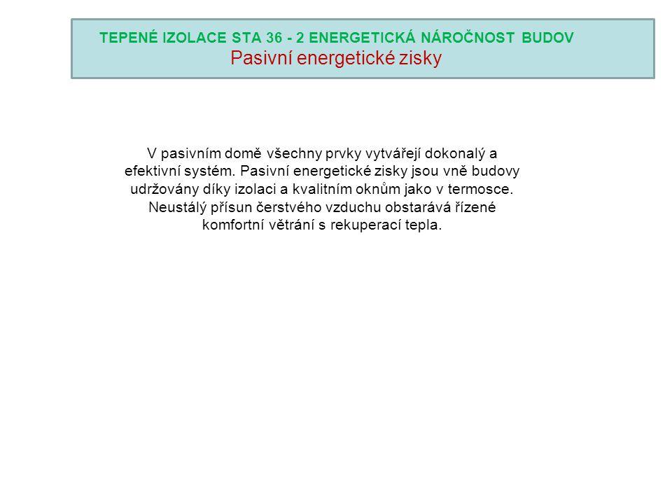 TEPENÉ IZOLACE STA 36 - 2 ENERGETICKÁ NÁROČNOST BUDOV Pasivní energetické zisky V pasivním domě všechny prvky vytvářejí dokonalý a efektivní systém. P
