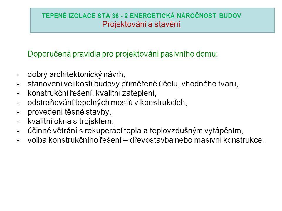 TEPENÉ IZOLACE STA 36 - 2 ENERGETICKÁ NÁROČNOST BUDOV Projektování a stavění Doporučená pravidla pro projektování pasivního domu: -dobrý architektonic