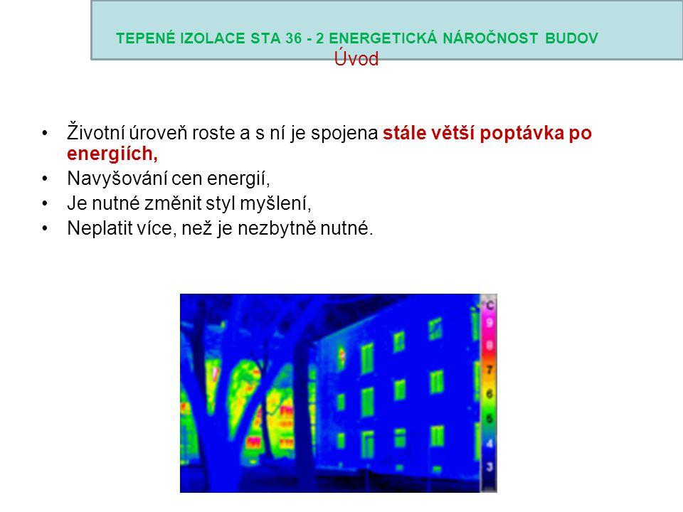TEPENÉ IZOLACE STA 36 - 2 ENERGETICKÁ NÁROČNOST BUDOV Požadavky na konstrukce Nízkoenergetické domy podlaha na terénu: U = 0,19 W/m.2K (norma 0.6) obvodová stěna: U = 0,17 W/m.2K (norma 0.30) střecha: U = 0,13 W/m.2K(norma 0.24) Pasivní domy podlaha na terénu: U = 0,15 W/m.2K obvodová stěna: U = 0,15 W/m.2K střecha: U = 0,12 W/m.2K Běžné domy podlaha na terénu: U = 0,36 W/m.2K obvodová stěna: U = 0,26 W/m.2K střecha: U = 0,15 W/m.2K