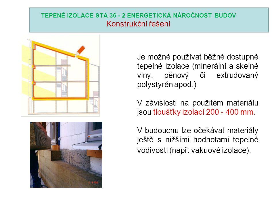 TEPENÉ IZOLACE STA 36 - 2 ENERGETICKÁ NÁROČNOST BUDOV Konstrukční řešení Je možné používat běžně dostupné tepelné izolace (minerální a skelné vlny, pě