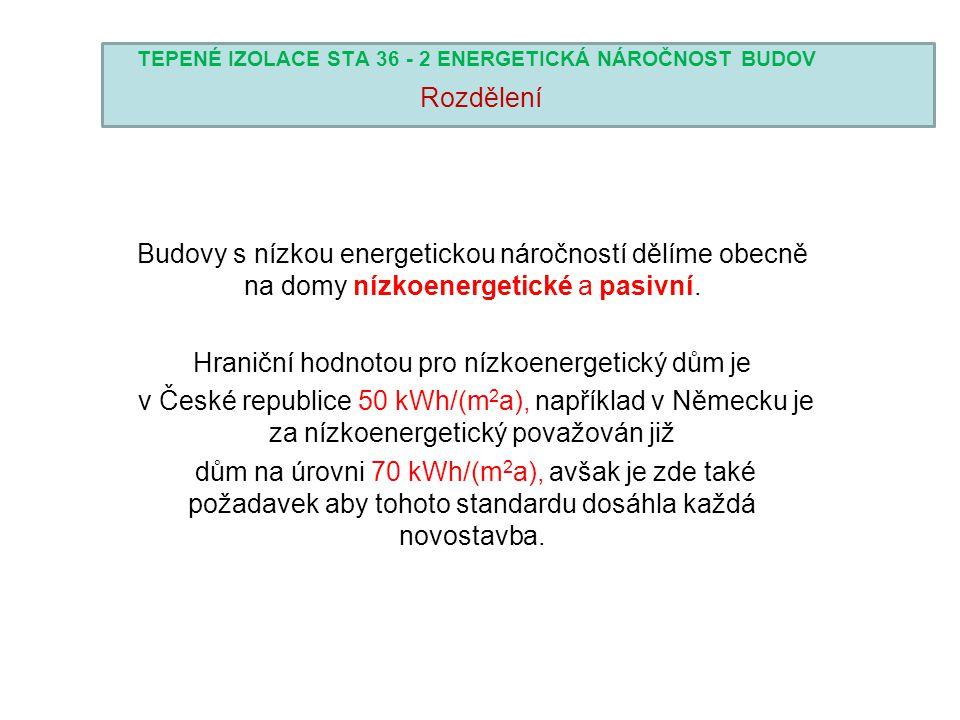 TEPENÉ IZOLACE STA 36 - 2 ENERGETICKÁ NÁROČNOST BUDOV Rozdělení Budovy s nízkou energetickou náročností dělíme obecně na domy nízkoenergetické a pasiv
