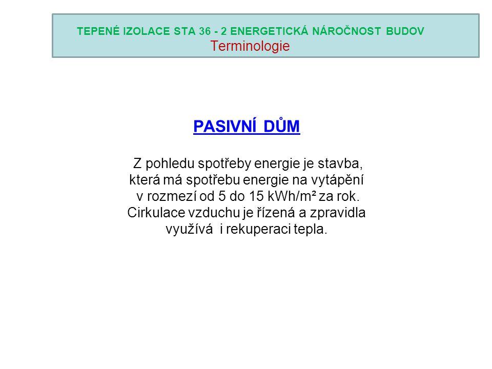 TEPENÉ IZOLACE STA 36 - 2 ENERGETICKÁ NÁROČNOST BUDOV Konstrukční řešení 0,15 W/(m 2 K).