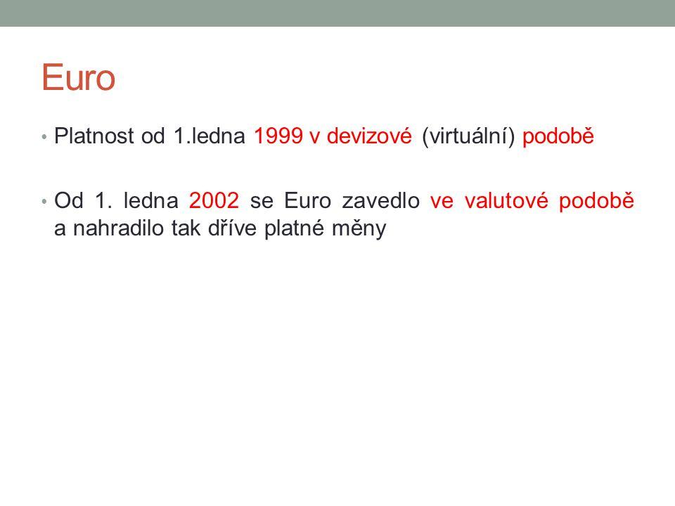 Euro Platnost od 1.ledna 1999 v devizové (virtuální) podobě Od 1. ledna 2002 se Euro zavedlo ve valutové podobě a nahradilo tak dříve platné měny