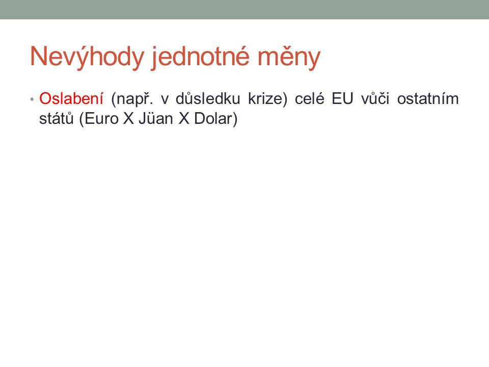 Nevýhody jednotné měny Oslabení (např. v důsledku krize) celé EU vůči ostatním států (Euro X Jüan X Dolar)