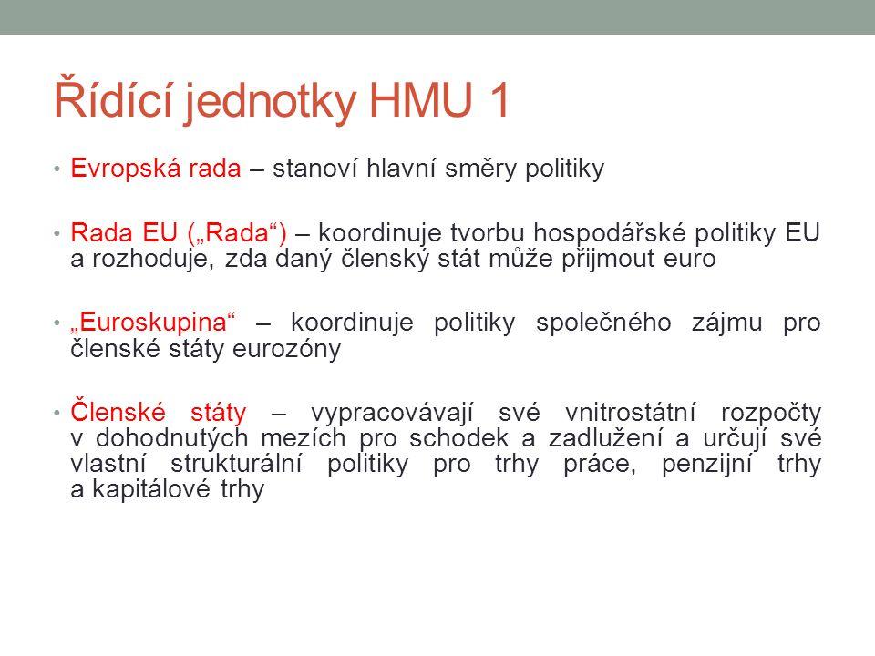 "Řídící jednotky HMU 1 Evropská rada – stanoví hlavní směry politiky Rada EU (""Rada"") – koordinuje tvorbu hospodářské politiky EU a rozhoduje, zda daný"