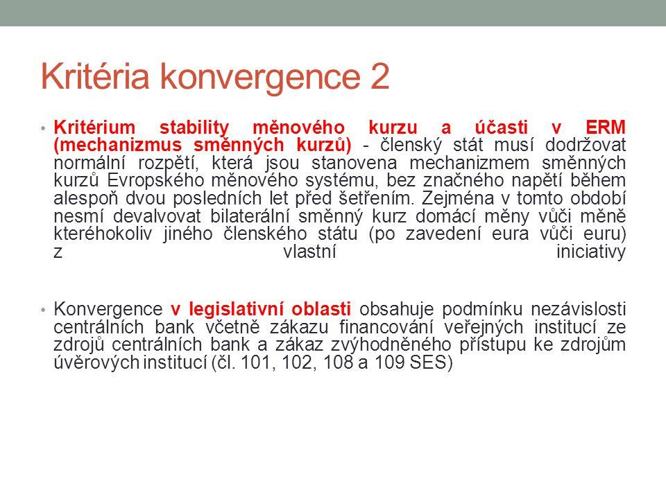 Kritéria konvergence 2 Kritérium stability měnového kurzu a účasti v ERM (mechanizmus směnných kurzů) - členský stát musí dodržovat normální rozpětí,