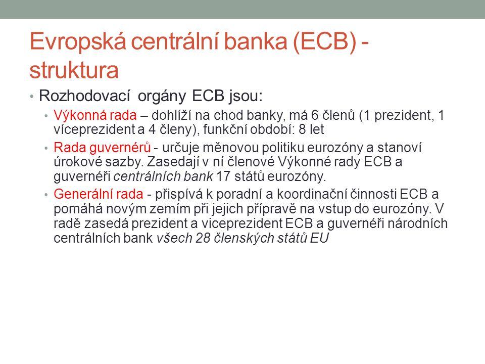 Evropská centrální banka (ECB) - struktura Rozhodovací orgány ECB jsou: Výkonná rada – dohlíží na chod banky, má 6 členů (1 prezident, 1 víceprezident