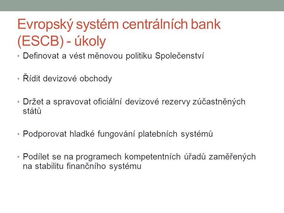 Evropský systém centrálních bank (ESCB) - úkoly Definovat a vést měnovou politiku Společenství Řídit devizové obchody Držet a spravovat oficiální devi