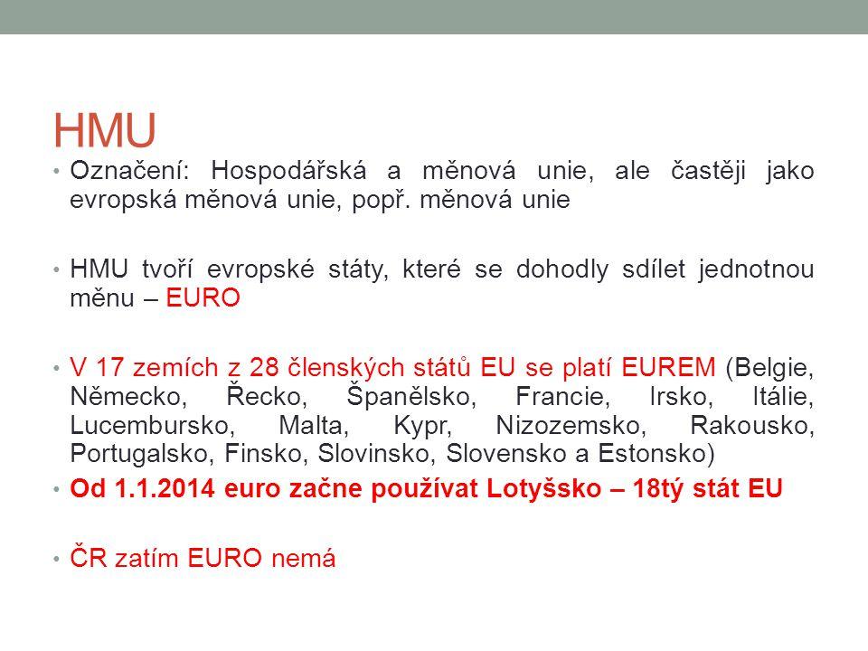 HMU Označení: Hospodářská a měnová unie, ale častěji jako evropská měnová unie, popř. měnová unie HMU tvoří evropské státy, které se dohodly sdílet je