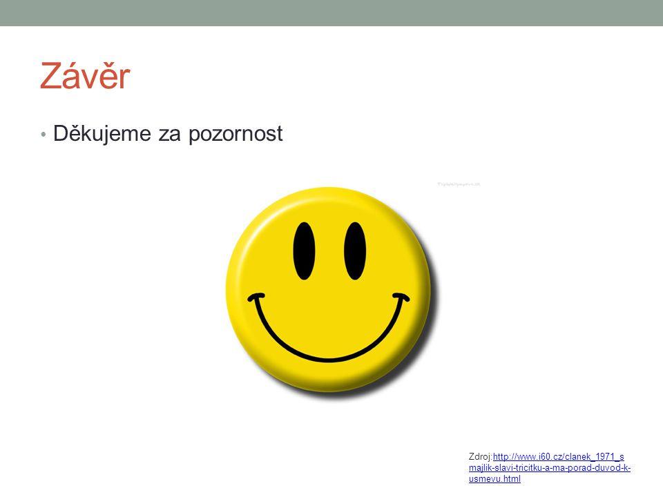 Závěr Děkujeme za pozornost Zdroj:http://www.i60.cz/clanek_1971_s majlik-slavi-tricitku-a-ma-porad-duvod-k- usmevu.htmlhttp://www.i60.cz/clanek_1971_s