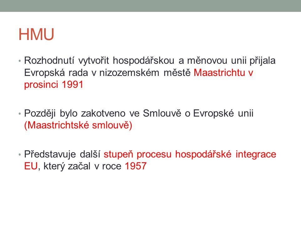HMU Rozhodnutí vytvořit hospodářskou a měnovou unii přijala Evropská rada v nizozemském městě Maastrichtu v prosinci 1991 Později bylo zakotveno ve Sm
