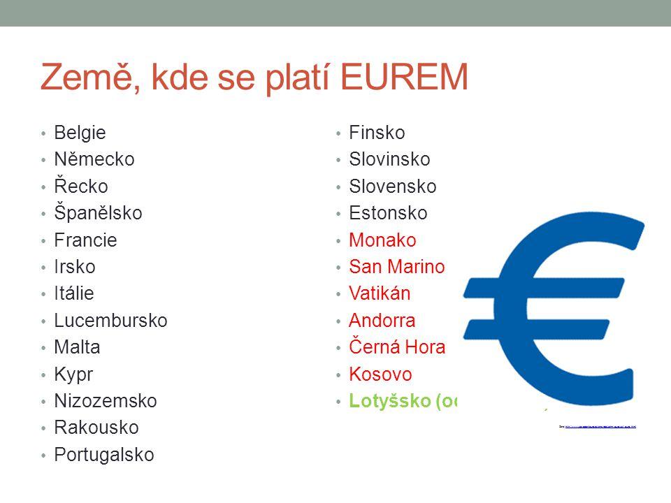 Země, kde se platí EUREM Belgie Německo Řecko Španělsko Francie Irsko Itálie Lucembursko Malta Kypr Nizozemsko Rakousko Portugalsko Finsko Slovinsko S