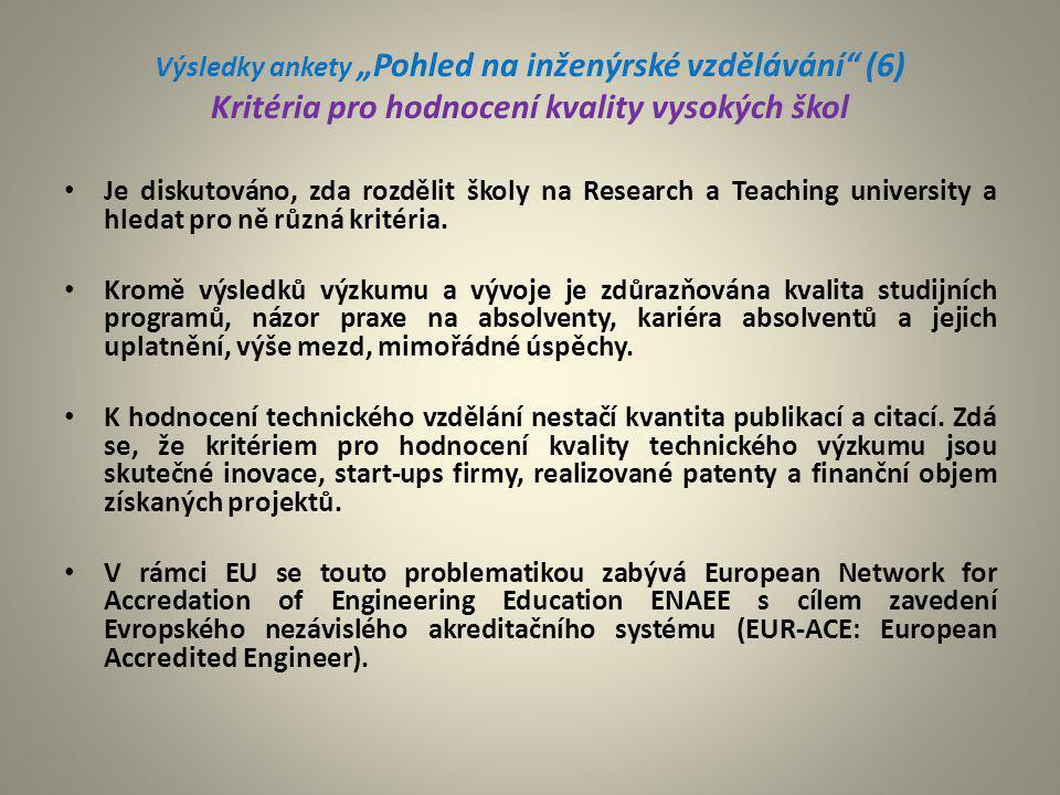 """Výsledky ankety """"Pohled na inženýrské vzdělávání"""" (6) Kritéria pro hodnocení kvality vysokých škol Je diskutováno, zda rozdělit školy na Research a Te"""