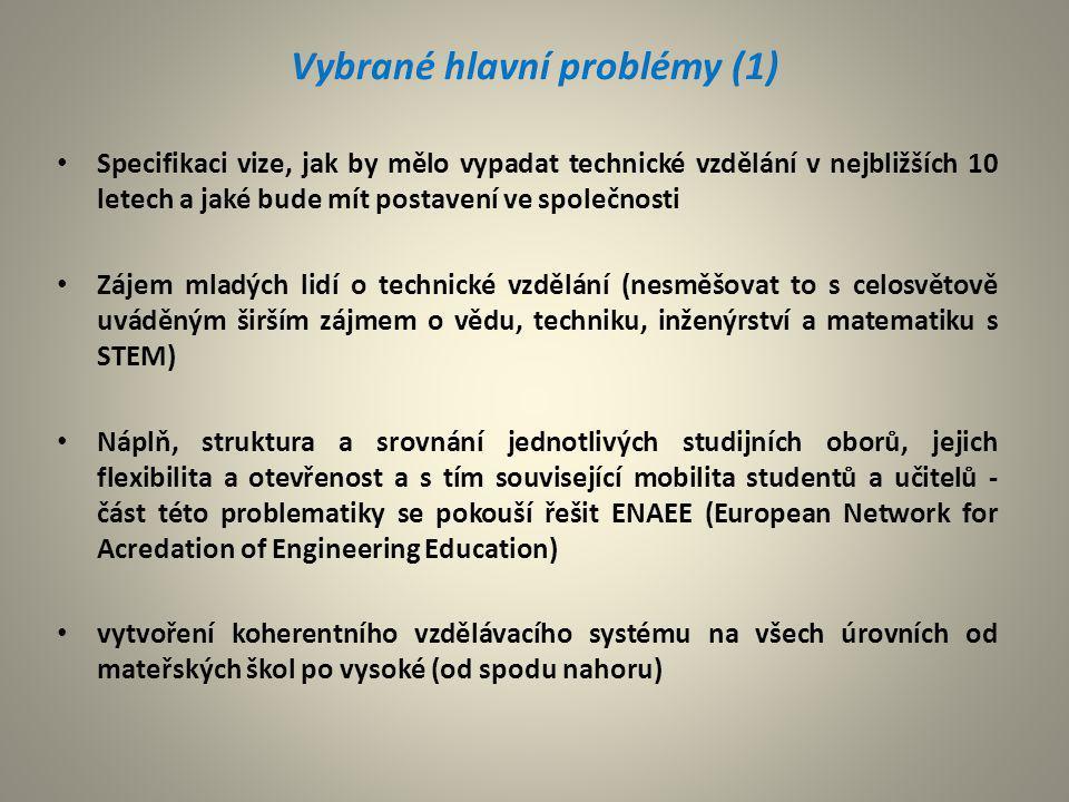 Vybrané hlavní problémy (2) Úzké propojení technického vzdělání s průmyslovou sférou Podpora technického vzdělání ze strany státu a průmyslu (podle dlouhodobější potřeby absolventů jednotlivých oborů i úrovní) by se měla státu národní strategickou prioritou Zvláštnosti hodnocení technických škol z pohledu zajištění konkurenceschopnosti a potřeb průmyslové sféry (využití EFQM - European Foundation for Quality Management) Dle možnosti spolupráce na mezinárodní úrovni