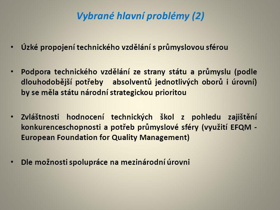 Vybrané hlavní problémy (2) Úzké propojení technického vzdělání s průmyslovou sférou Podpora technického vzdělání ze strany státu a průmyslu (podle dl