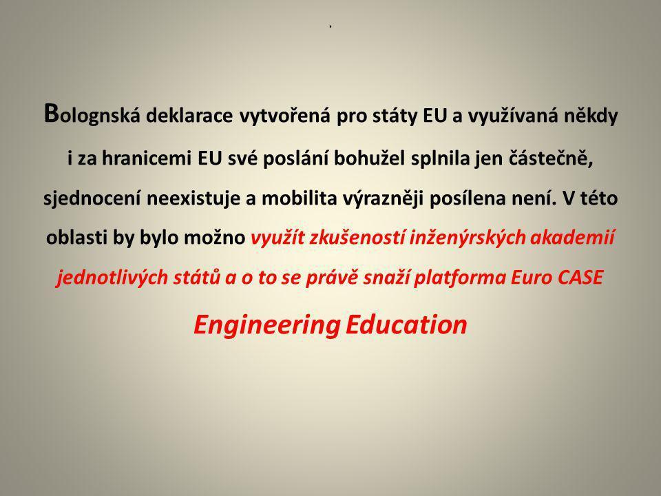 . B olognská deklarace vytvořená pro státy EU a využívaná někdy i za hranicemi EU své poslání bohužel splnila jen částečně, sjednocení neexistuje a mo