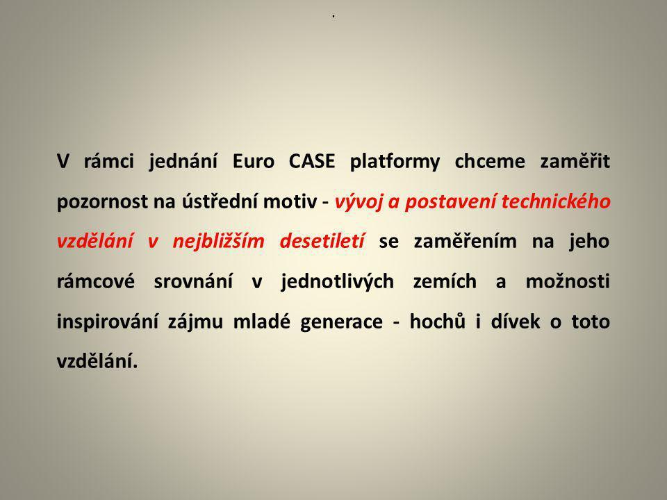 . V rámci jednání Euro CASE platformy chceme zaměřit pozornost na ústřední motiv - vývoj a postavení technického vzdělání v nejbližším desetiletí se z