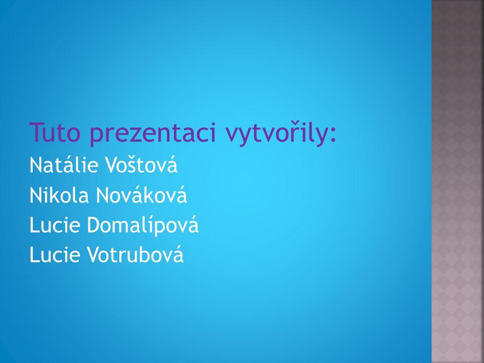 Tuto prezentaci vytvořily: Natálie Voštová Nikola Nováková Lucie Domalípová Lucie Votrubová