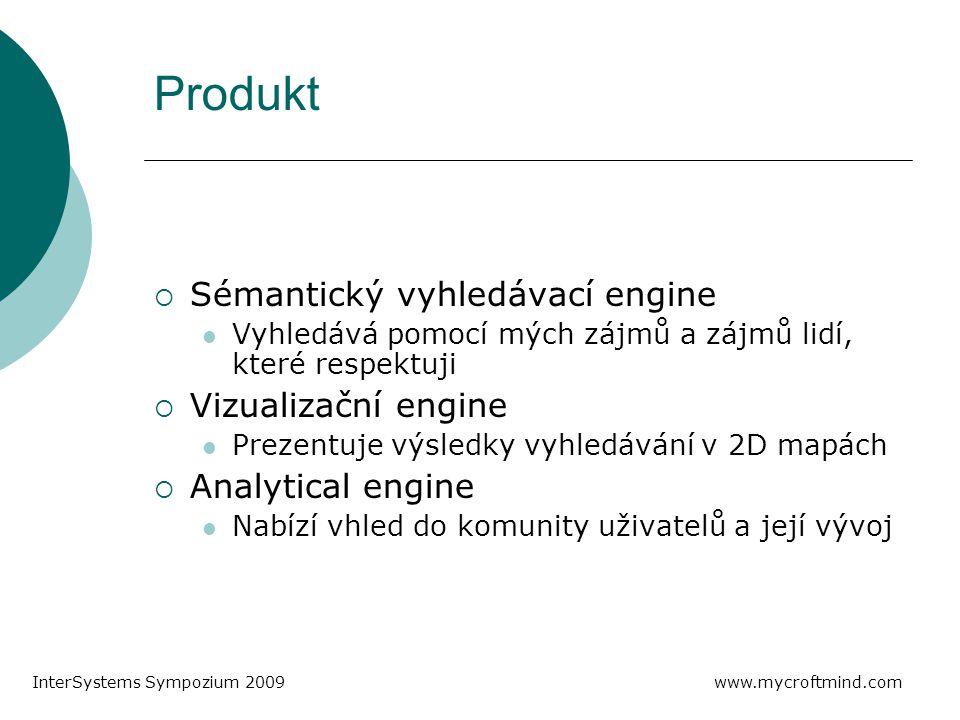 Produkt  Sémantický vyhledávací engine Vyhledává pomocí mých zájmů a zájmů lidí, které respektuji  Vizualizační engine Prezentuje výsledky vyhledávání v 2D mapách  Analytical engine Nabízí vhled do komunity uživatelů a její vývoj www.mycroftmind.com InterSystems Sympozium 2009