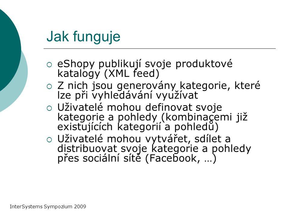 Jak funguje  eShopy publikují svoje produktové katalogy (XML feed)  Z nich jsou generovány kategorie, které lze při vyhledávání využívat  Uživatelé mohou definovat svoje kategorie a pohledy (kombinacemi již existujících kategorií a pohledů)  Uživatelé mohou vytvářet, sdílet a distribuovat svoje kategorie a pohledy přes sociální sítě (Facebook, …) InterSystems Sympozium 2009