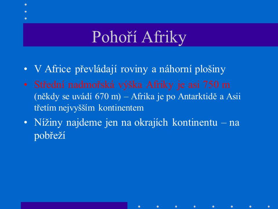 Pohoří Afriky V Africe převládají roviny a náhorní plošiny Střední nadmořská výška Afriky je asi 750 m (někdy se uvádí 670 m) – Afrika je po Antarktid