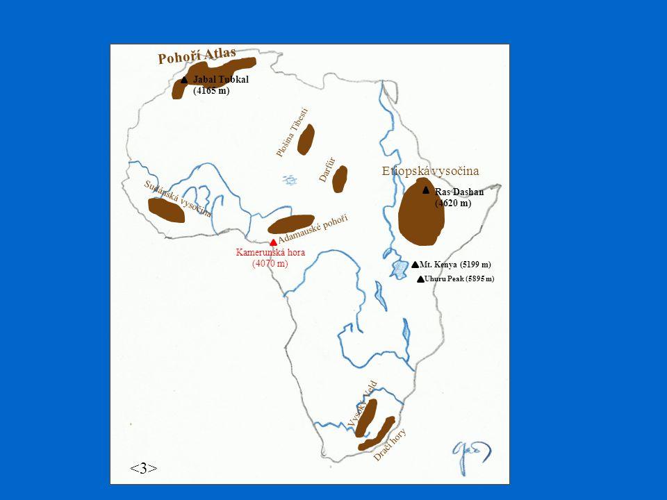 pouště Velkou část ( cca 1/3 rozlohy ) tvoří pouštní oblasti Největší pouští je Sahara ( cca 9 mil.