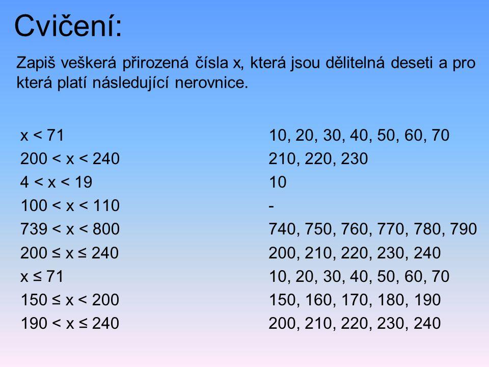 Cvičení: Zapiš veškerá přirozená čísla x, která jsou dělitelná deseti a pro která platí následující nerovnice. x < 71 200 < x < 240 4 < x < 19 100 < x