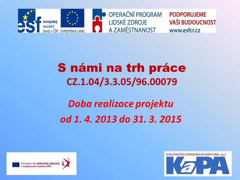 S námi na trh práce CZ.1.04/3.3.05/96.00079 Doba realizace projektu od 1. 4. 2013 do 31. 3. 2015