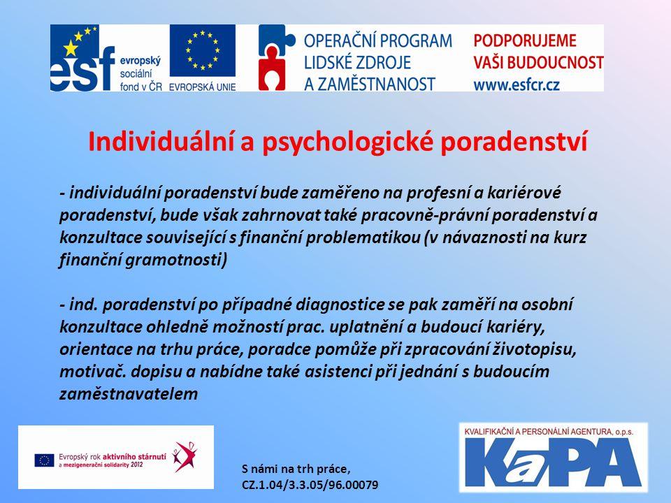 S námi na trh práce, CZ.1.04/3.3.05/96.00079 - individuální poradenství bude zaměřeno na profesní a kariérové poradenství, bude však zahrnovat také pr