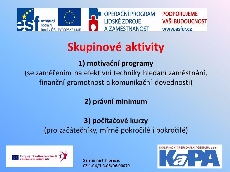 S námi na trh práce, CZ.1.04/3.3.05/96.00079 1) motivační programy (se zaměřením na efektivní techniky hledání zaměstnání, finanční gramotnost a komunikační dovednosti) 2) právní minimum 3) počítačové kurzy (pro začátečníky, mírně pokročilé i pokročilé) Skupinové aktivity
