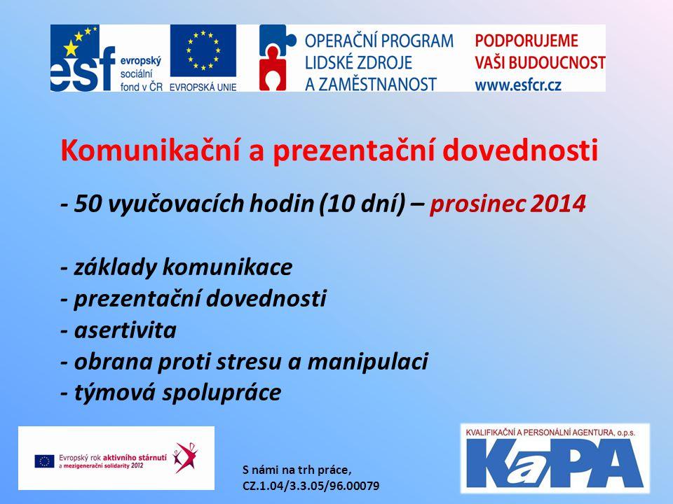 S námi na trh práce, CZ.1.04/3.3.05/96.00079 - 50 vyučovacích hodin (10 dní) – prosinec 2014 - základy komunikace - prezentační dovednosti - asertivit