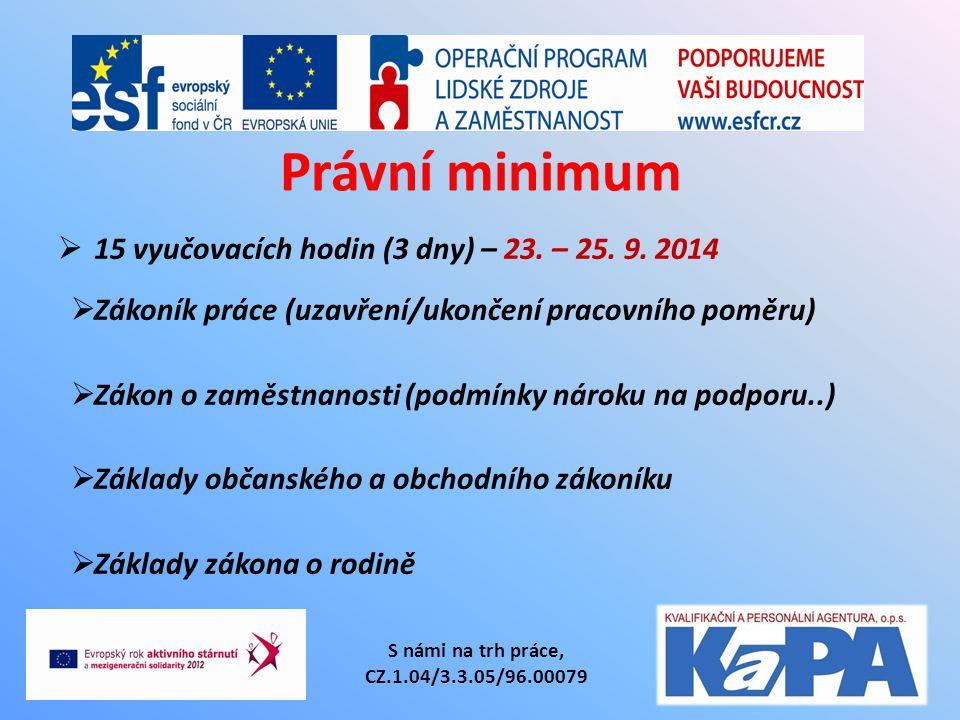 Právní minimum  15 vyučovacích hodin (3 dny) – 23. – 25. 9. 2014  Zákoník práce (uzavření/ukončení pracovního poměru)  Zákon o zaměstnanosti (podmí