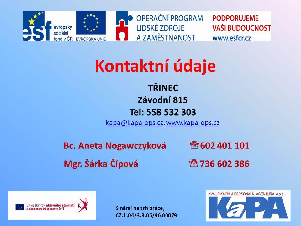S námi na trh práce, CZ.1.04/3.3.05/96.00079 Kontaktní údaje TŘINEC Závodní 815 Tel: 558 532 303 kapa@kapa-ops.czkapa@kapa-ops.cz, www.kapa-ops.czwww.kapa-ops.cz Bc.