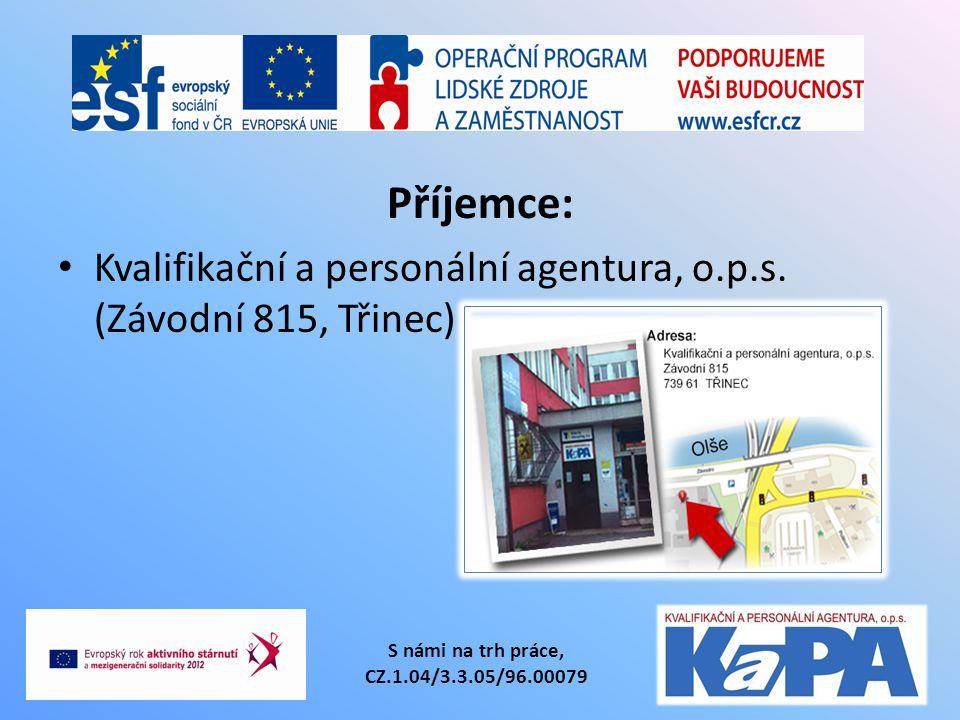 Příjemce: Kvalifikační a personální agentura, o.p.s. (Závodní 815, Třinec) S námi na trh práce, CZ.1.04/3.3.05/96.00079