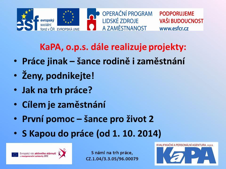 KaPA, o.p.s. dále realizuje projekty: Práce jinak – šance rodině i zaměstnání Ženy, podnikejte! Jak na trh práce? Cílem je zaměstnání První pomoc – ša