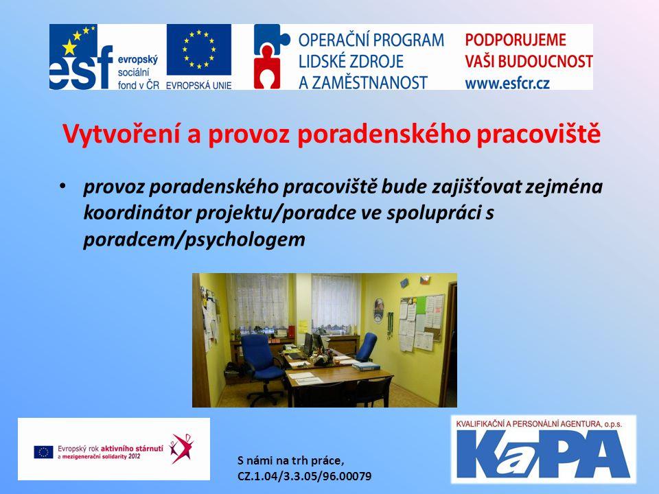 provoz poradenského pracoviště bude zajišťovat zejména koordinátor projektu/poradce ve spolupráci s poradcem/psychologem Vytvoření a provoz poradenského pracoviště