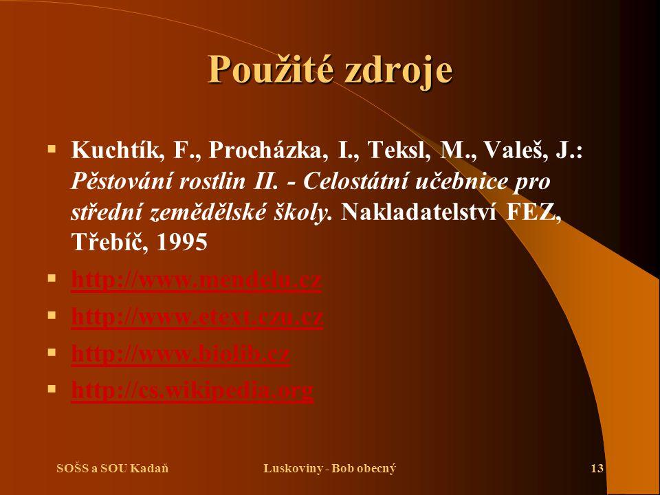 SOŠS a SOU KadaňLuskoviny - Bob obecný13 Použité zdroje   Kuchtík, F., Procházka, I., Teksl, M., Valeš, J.: Pěstování rostlin II. - Celostátní učebn