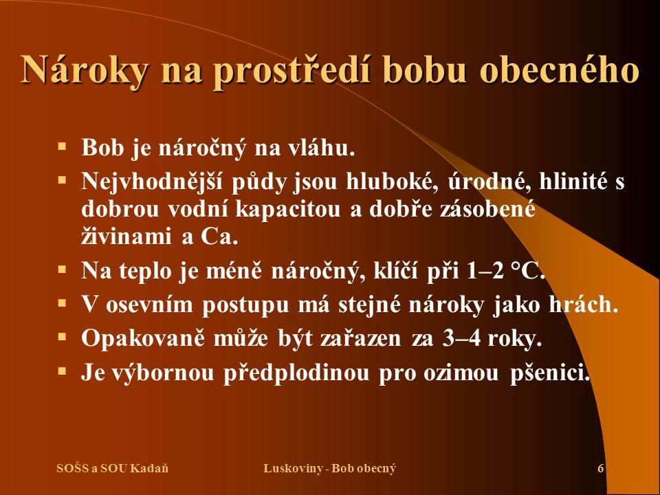 SOŠS a SOU KadaňLuskoviny - Bob obecný7 Výživa a hnojení bobu obecného   Reakce na hnojení je nízká a závisí na zásobenosti půdy.