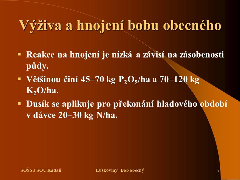 SOŠS a SOU KadaňLuskoviny - Bob obecný8 Příprava půdy pro bob obecný   Na podzim se provádí podmítka s následnou orbou 20–25 cm spojenou se zaorávkou P a K.