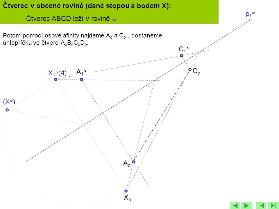 p1p1 X 1   C1C1 (X   XoXo Potom pomocí osové afinity najdeme A o a C o, dostaneme úhlopříčku ve čtverci A o B o C o D o. AoAo CoCo A1A1 Čt