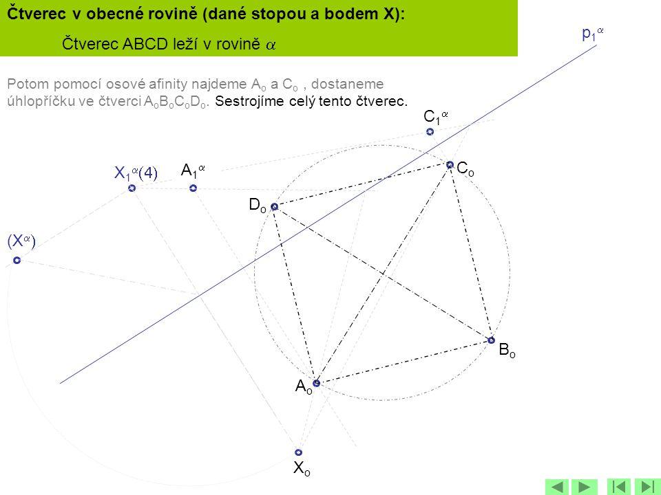 p1p1 X 1   C1C1 (X   XoXo Potom pomocí osové afinity najdeme A o a C o, dostaneme úhlopříčku ve čtverci A o B o C o D o. Sestrojíme celý ten