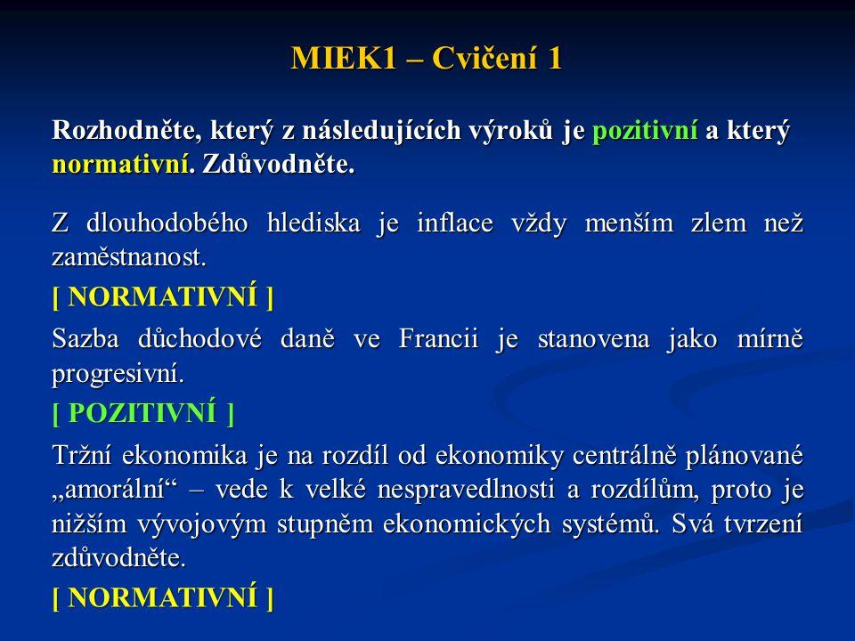 MIEK1 – Cvičení 1 Rozhodněte, který z následujících výroků je pozitivní a který normativní. Zdůvodněte. Z dlouhodobého hlediska je inflace vždy menším