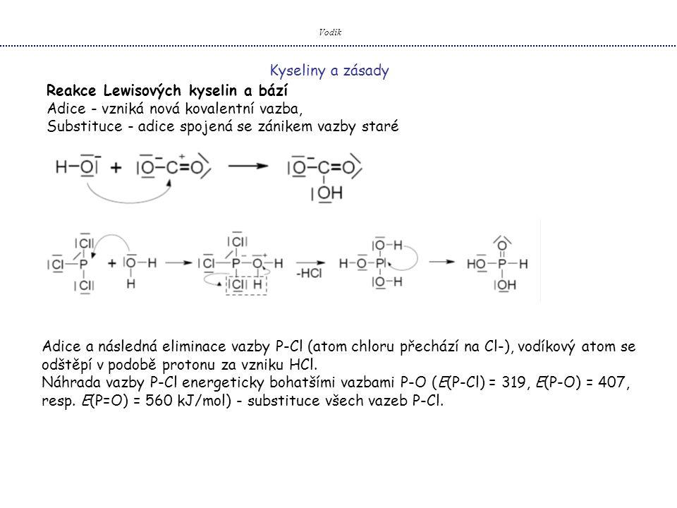 Vodík Kyseliny a zásady Reakce Lewisových kyselin a bází Adice - vzniká nová kovalentní vazba, Substituce - adice spojená se zánikem vazby staré Adice